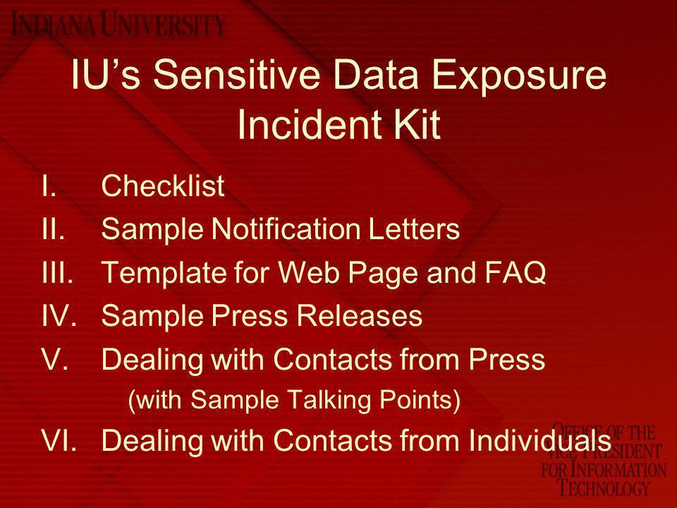 IU's Sensitive Data Exposure Incident Kit