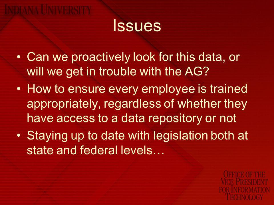 Issues Can we proactively look for this data, or will we get in trouble with the AG