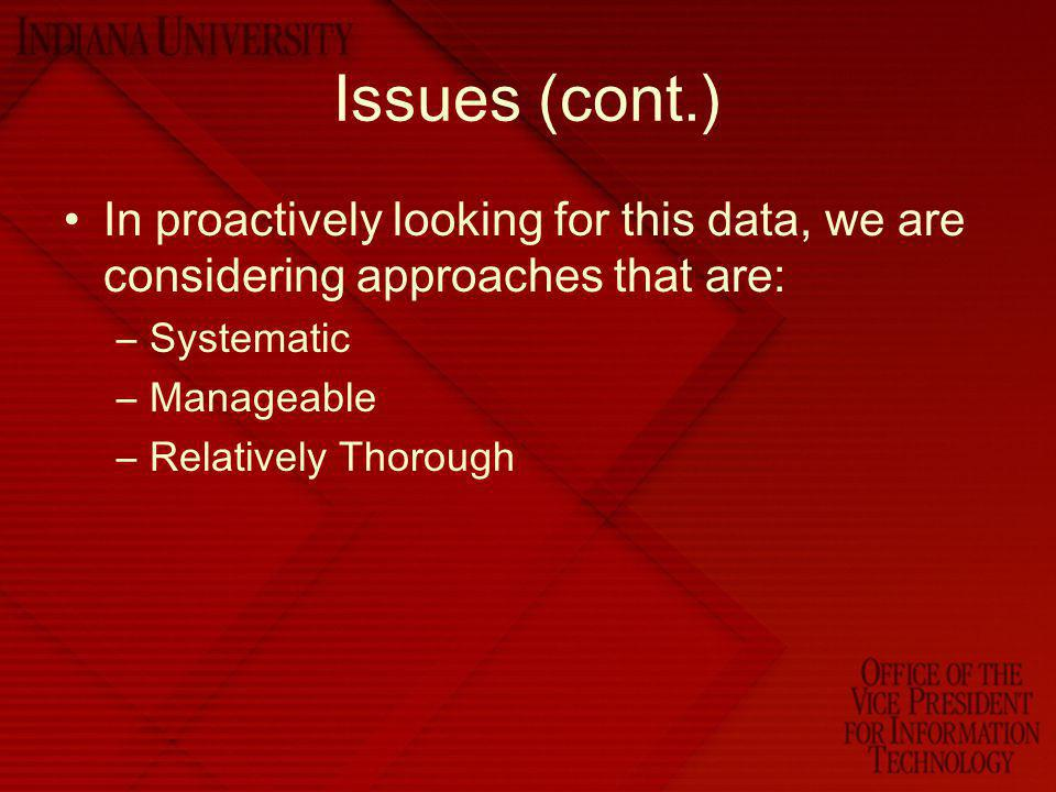Issues (cont.) In proactively looking for this data, we are considering approaches that are: Systematic.