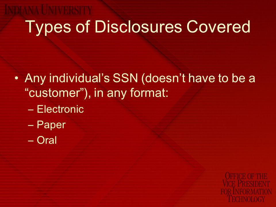 Types of Disclosures Covered