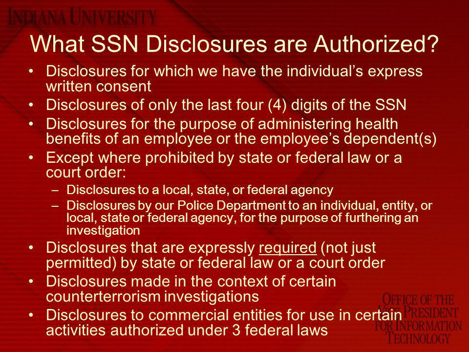 What SSN Disclosures are Authorized