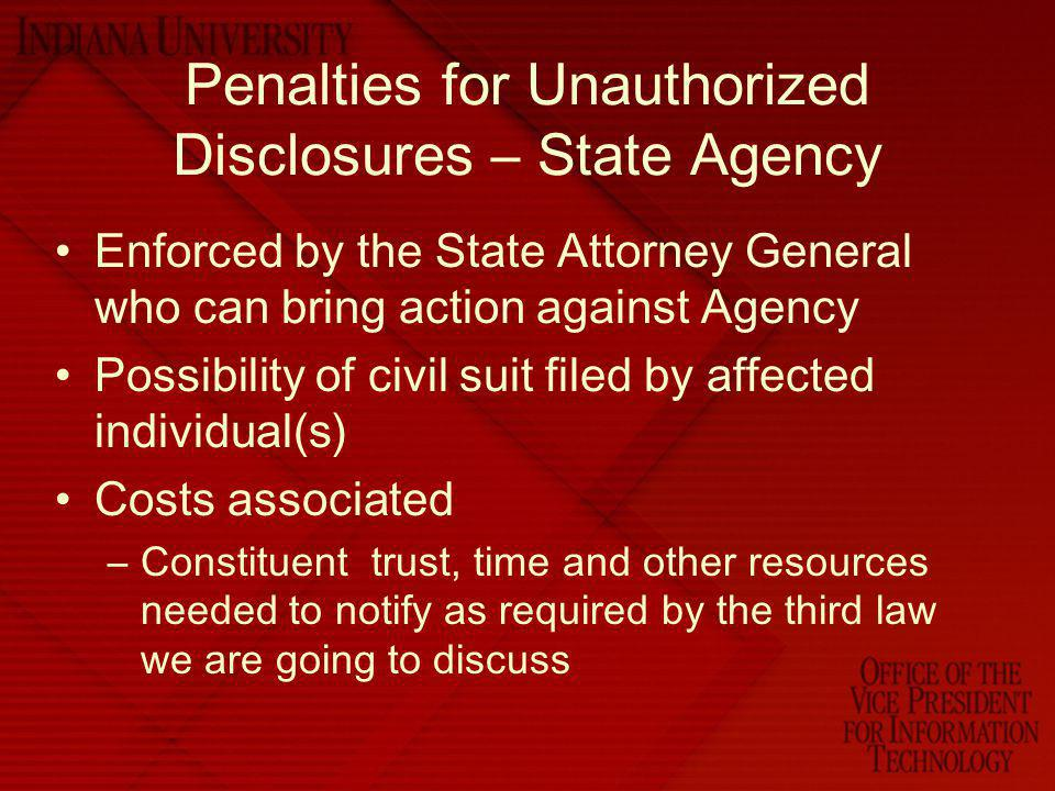 Penalties for Unauthorized Disclosures – State Agency