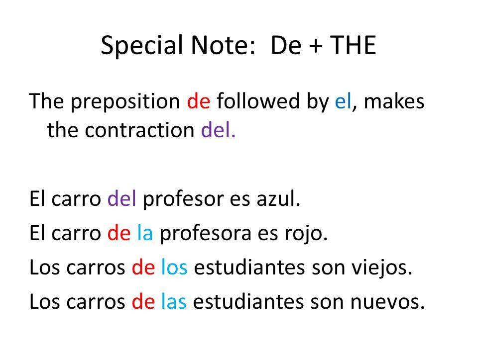 Special Note: De + THE