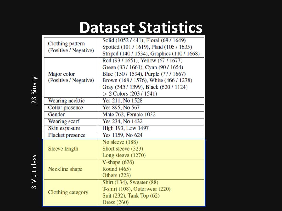 Dataset Statistics 23 Binary 3 Multiclass