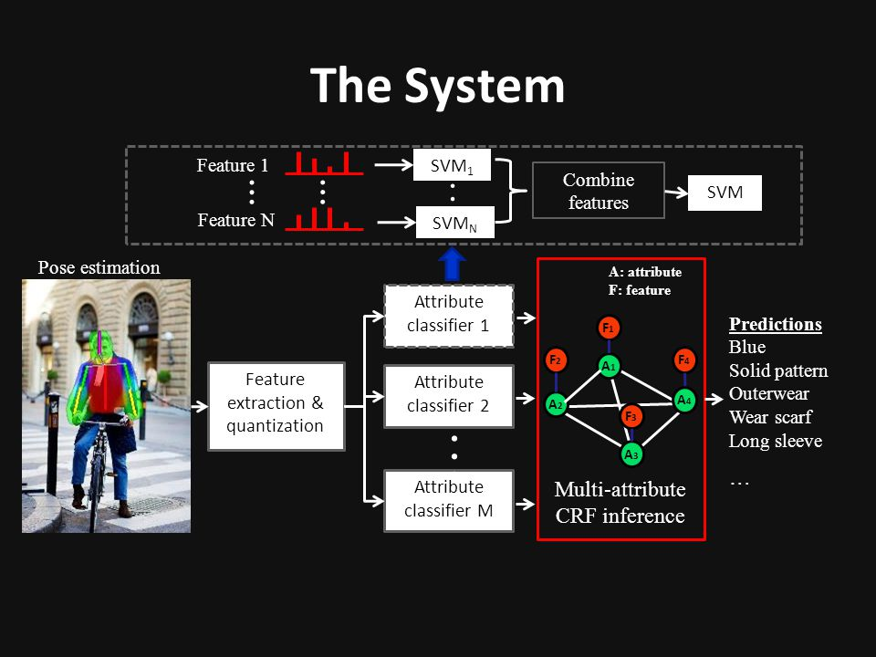 The System … … A: attribute F: feature Multi-attribute CRF inference
