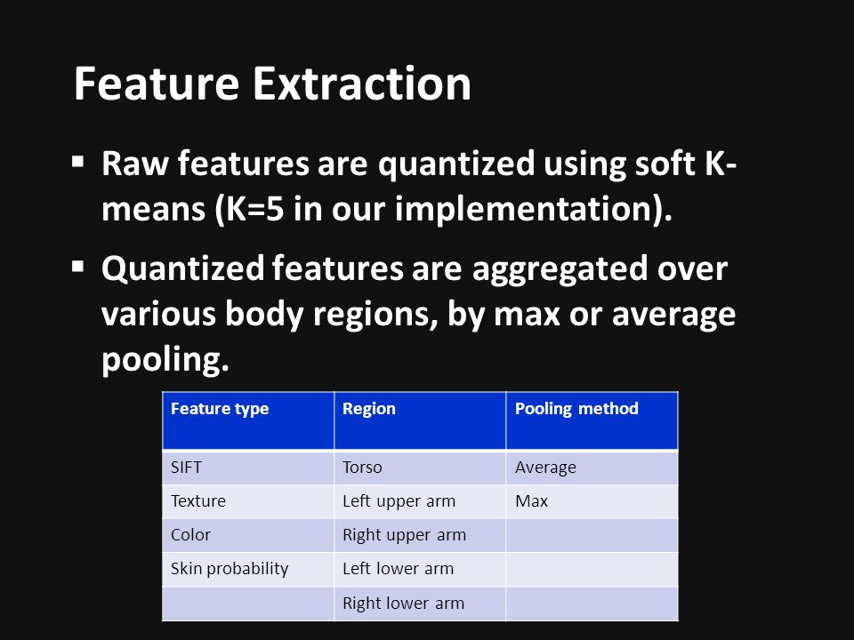 Feature Extraction Raw features are quantized using soft K-means (K=5 in our implementation).