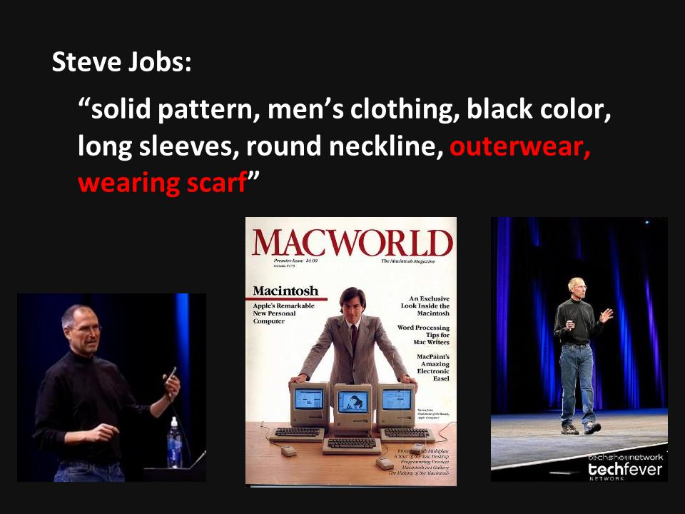 Steve Jobs: solid pattern, men's clothing, black color, long sleeves, round neckline, outerwear, wearing scarf