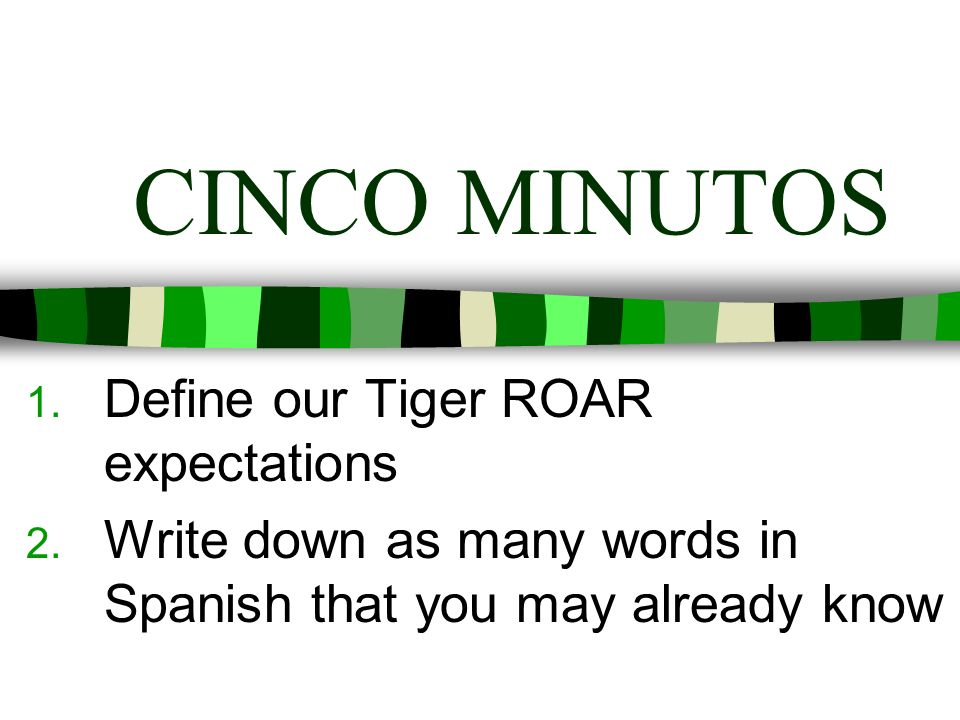CINCO MINUTOS Define our Tiger ROAR expectations