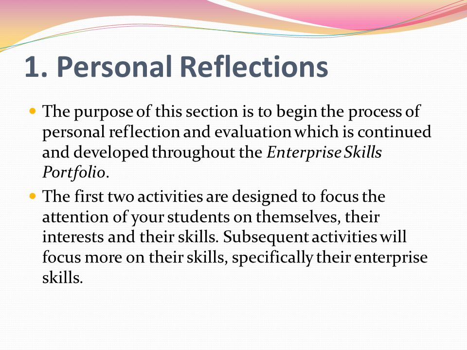 1. Personal Reflections