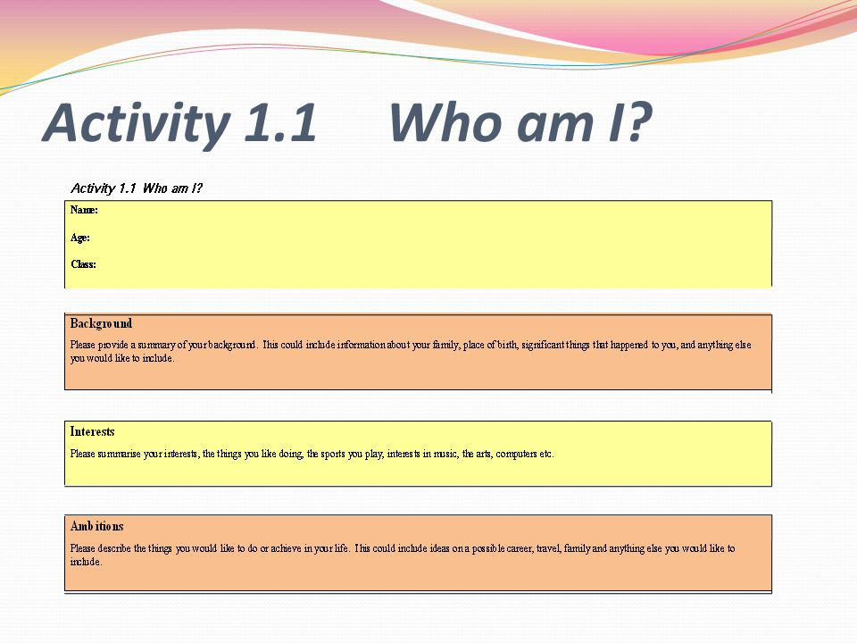 Activity 1.1 Who am I