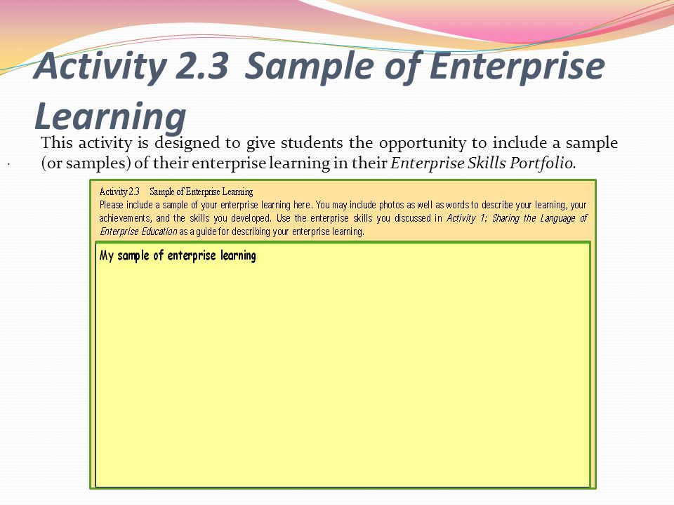 Activity 2.3 Sample of Enterprise Learning