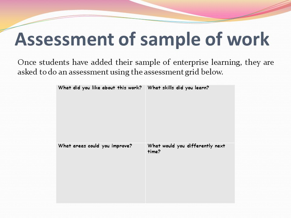 Assessment of sample of work