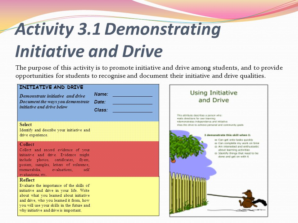 Activity 3.1 Demonstrating Initiative and Drive