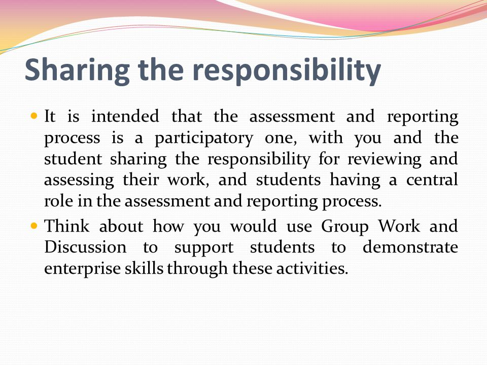 Sharing the responsibility