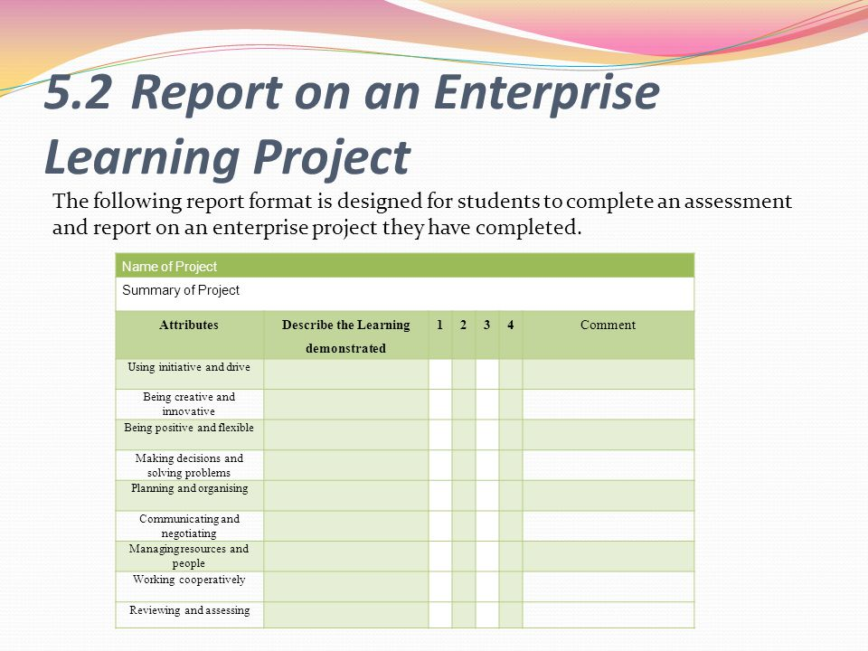 5.2 Report on an Enterprise Learning Project
