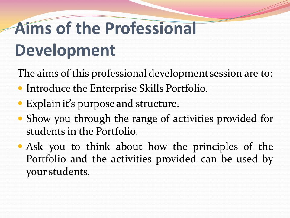 Aims of the Professional Development