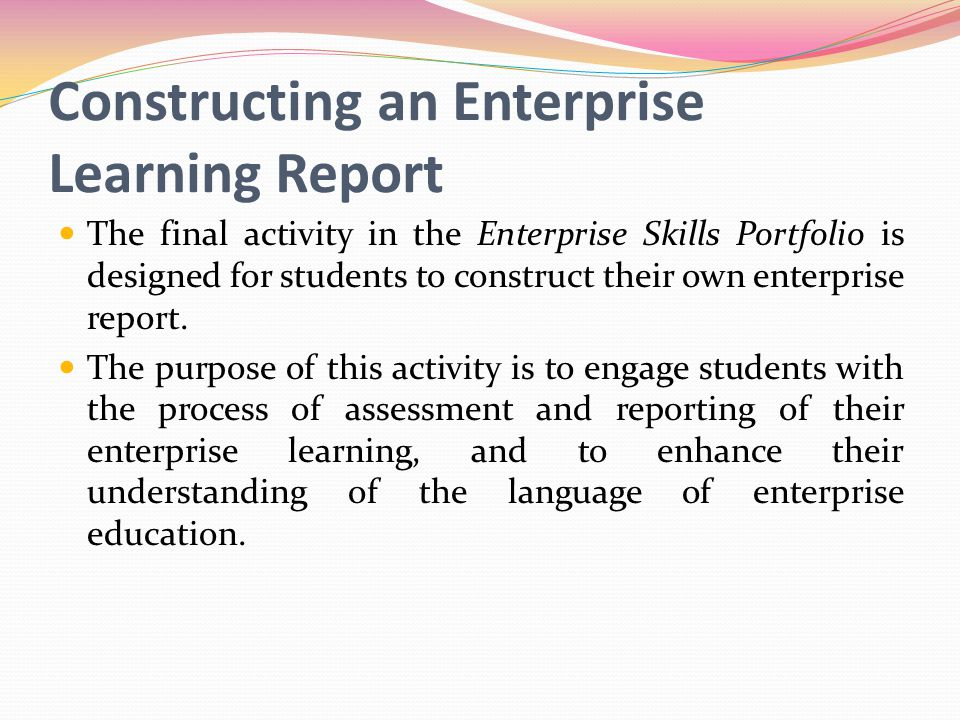 Constructing an Enterprise Learning Report
