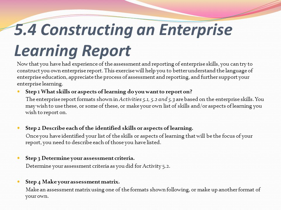 5.4 Constructing an Enterprise Learning Report