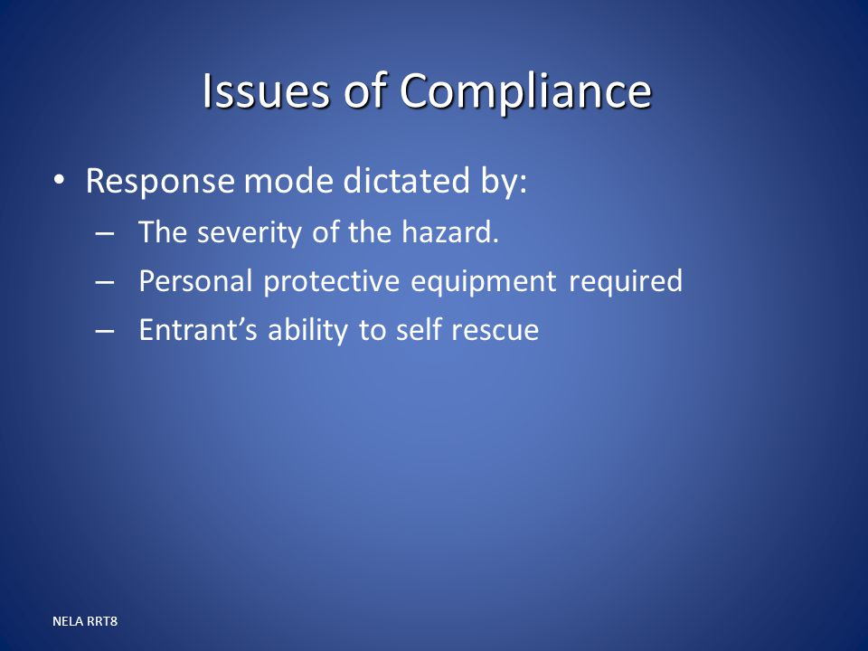 Issues of Compliance Response mode dictated by: