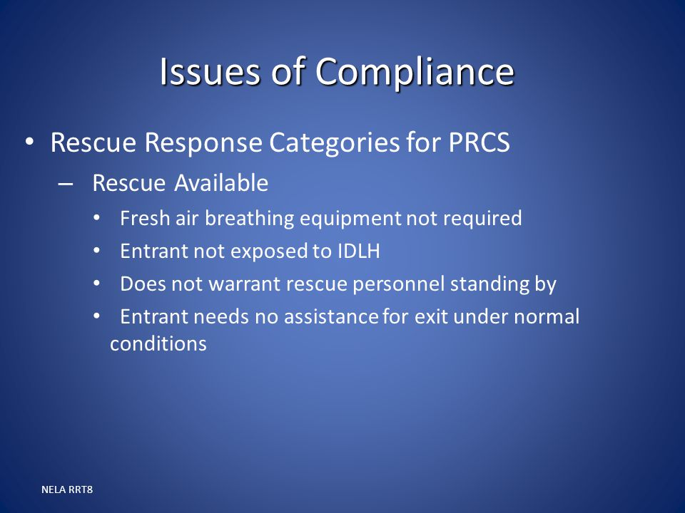Issues of Compliance Rescue Response Categories for PRCS