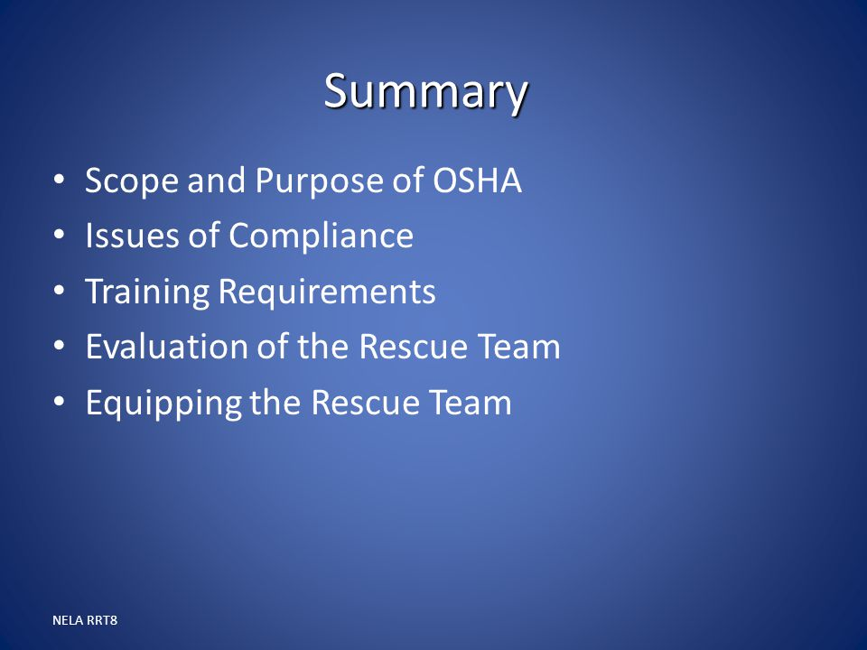 Summary Scope and Purpose of OSHA Issues of Compliance