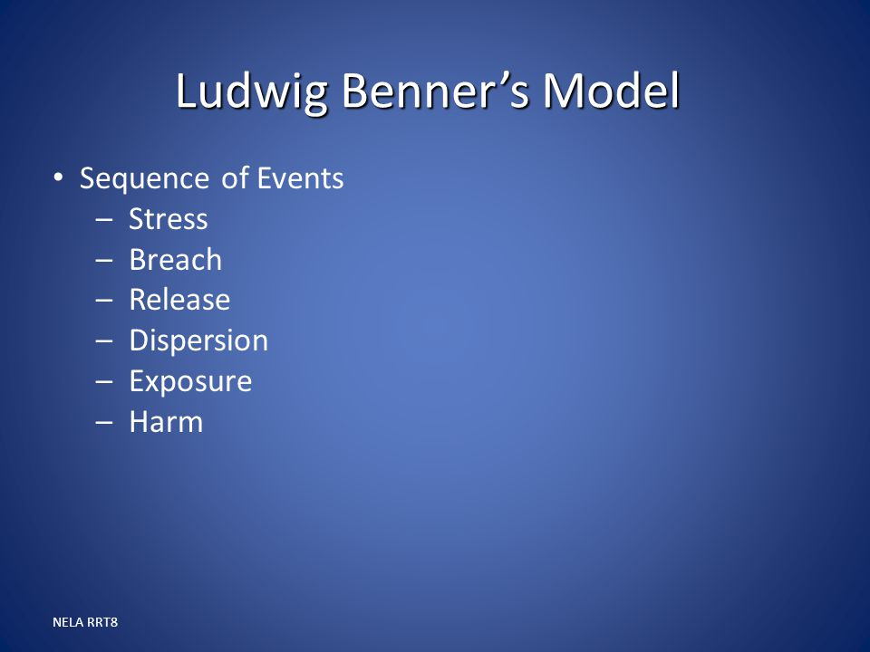 Ludwig Benner's Model Sequence of Events Stress Breach Release