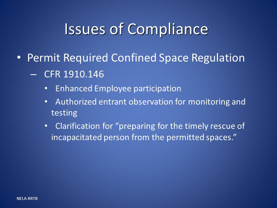 Issues of Compliance Permit Required Confined Space Regulation