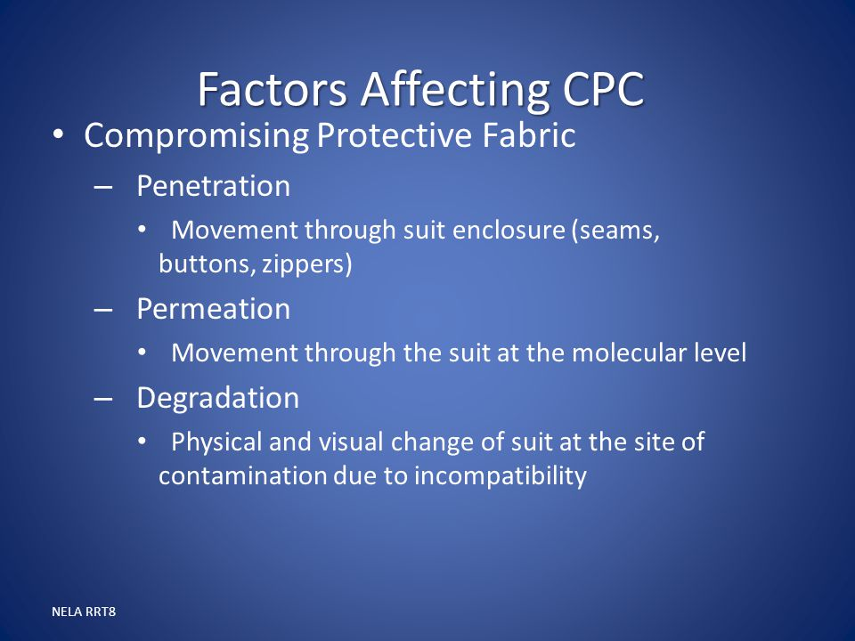 Factors Affecting CPC Compromising Protective Fabric Penetration