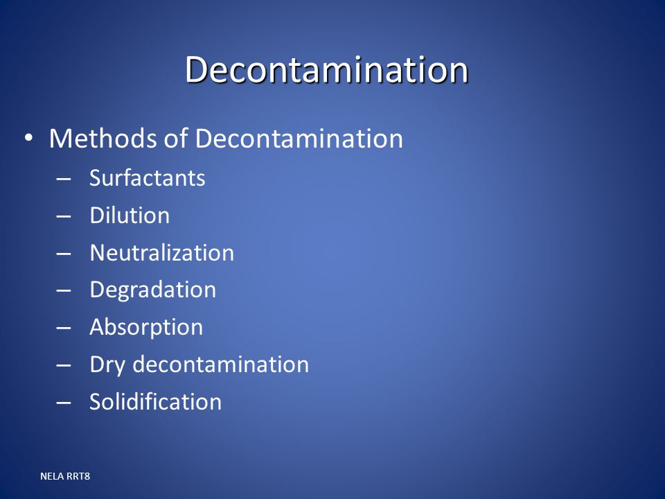 Decontamination Methods of Decontamination Surfactants Dilution