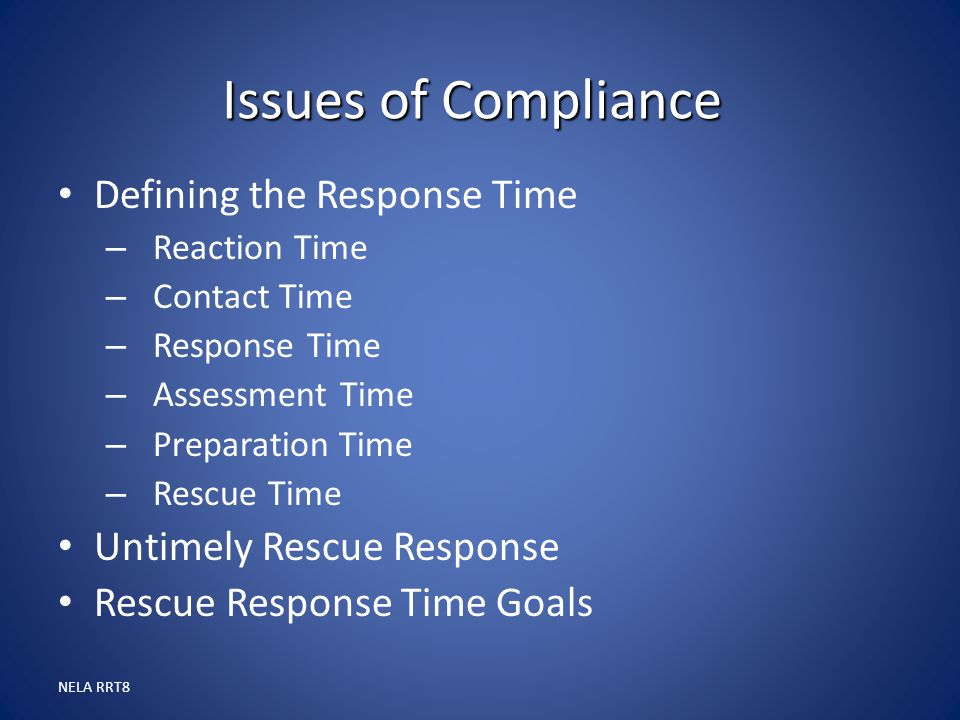 Issues of Compliance Defining the Response Time