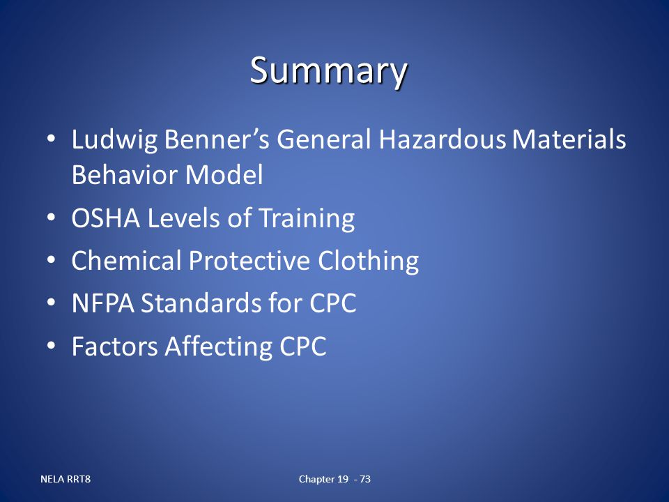 Summary Ludwig Benner's General Hazardous Materials Behavior Model