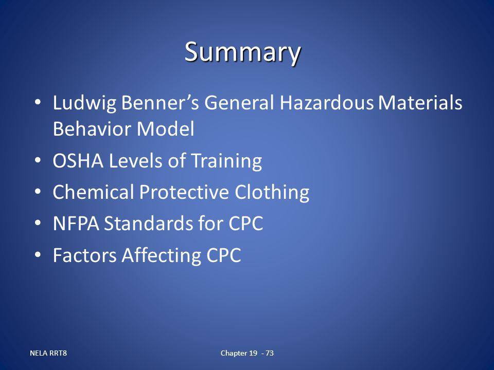 Summary Ludwig Benner's General Hazardous Materials Behavior Model