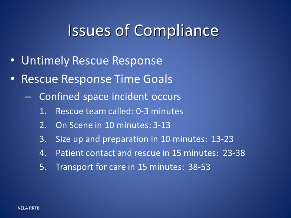 Issues of Compliance Untimely Rescue Response