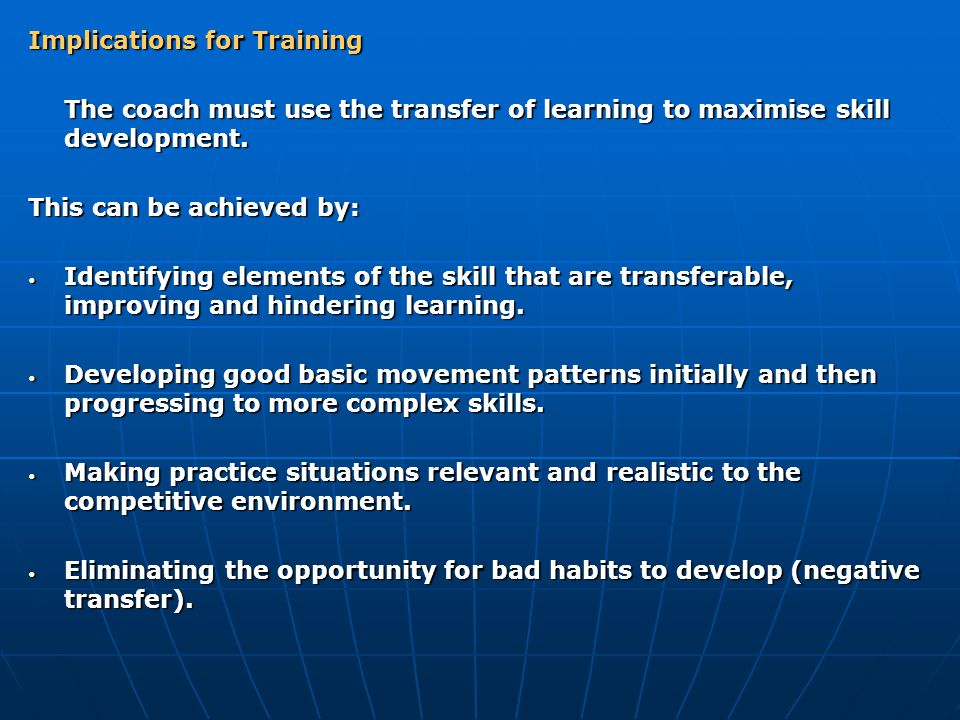 Implications for Training