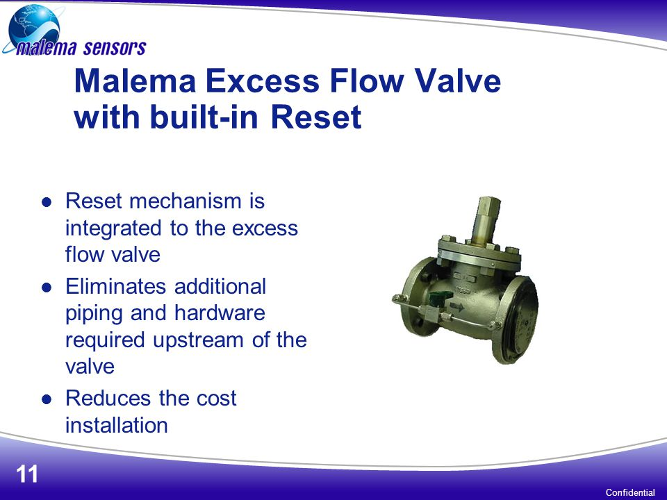 Malema Excess Flow Valve with built-in Reset