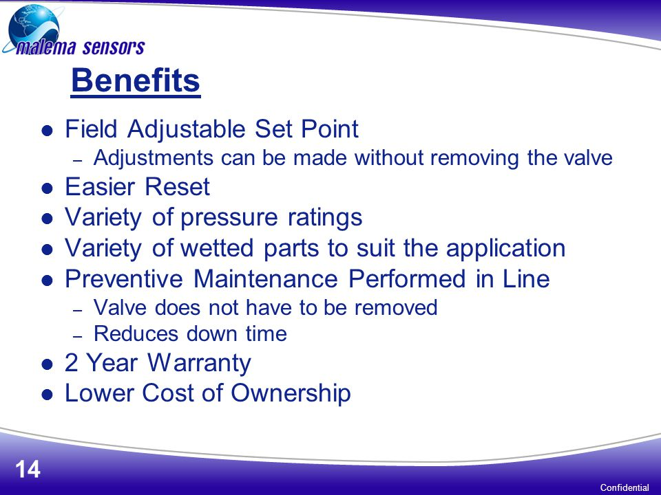 Benefits Field Adjustable Set Point Easier Reset