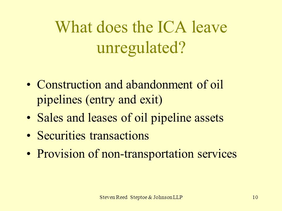 What does the ICA leave unregulated