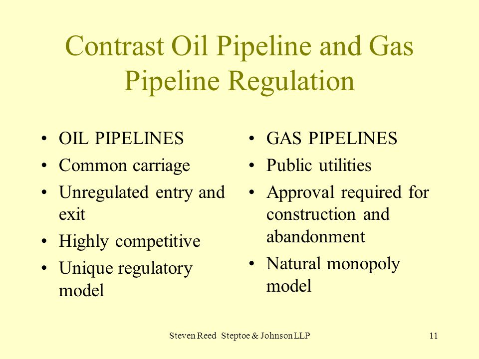 Contrast Oil Pipeline and Gas Pipeline Regulation