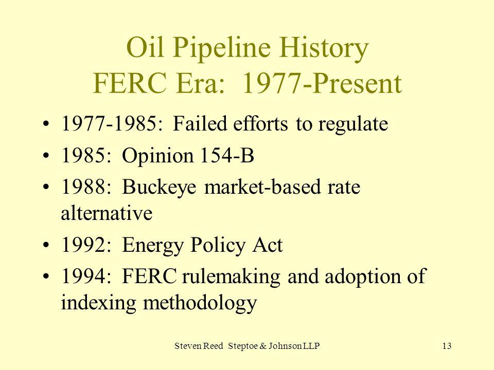 Oil Pipeline History FERC Era: 1977-Present