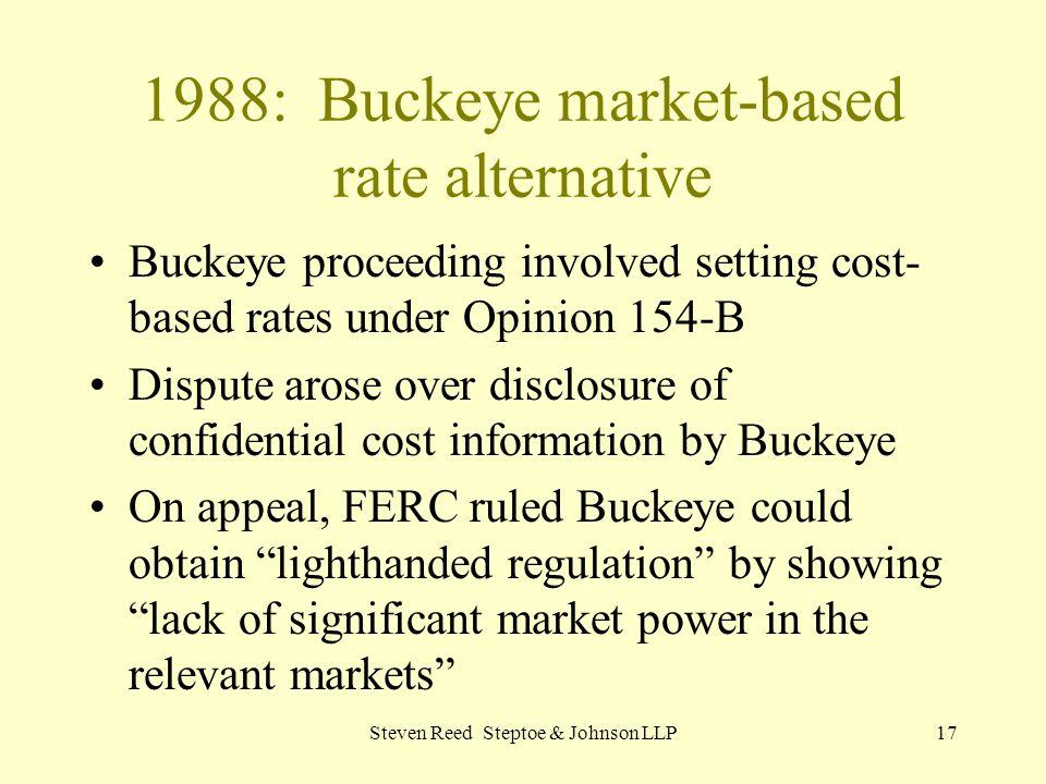 1988: Buckeye market-based rate alternative