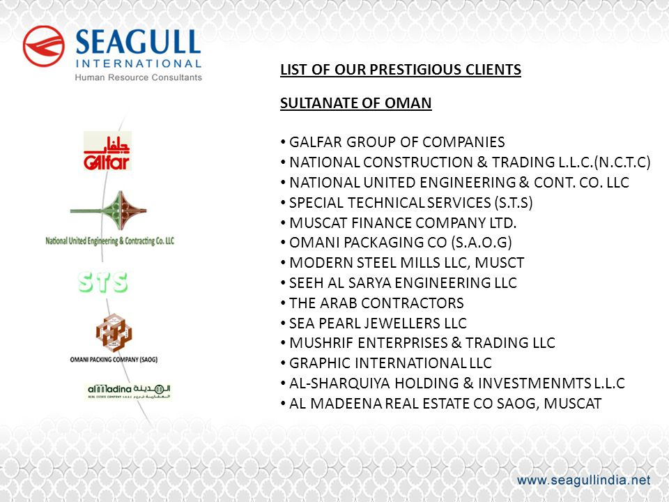 LIST OF OUR PRESTIGIOUS CLIENTS