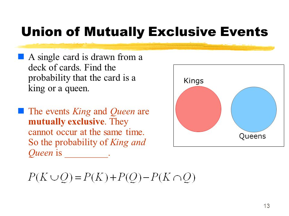 Union of Mutually Exclusive Events