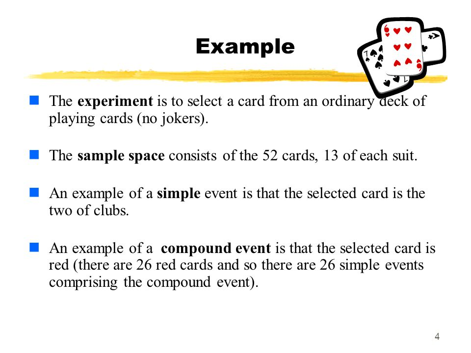MAT 103 Example. The experiment is to select a card from an ordinary deck of playing cards (no jokers).