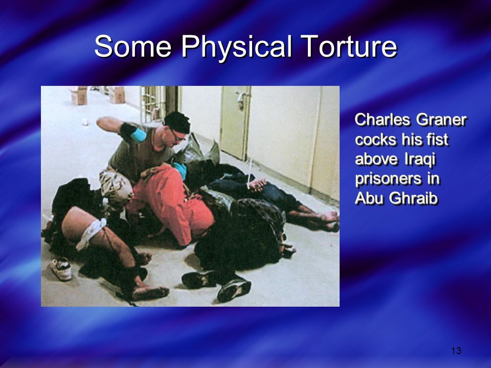 Some Physical Torture Charles Graner cocks his fist above Iraqi prisoners in Abu Ghraib