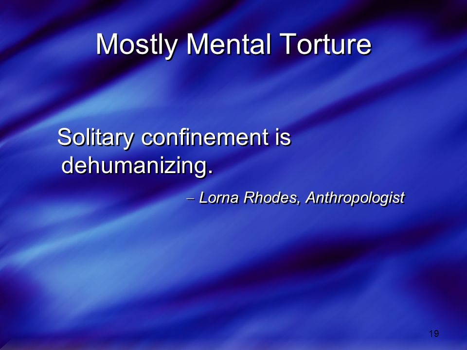 Mostly Mental Torture Solitary confinement is dehumanizing.