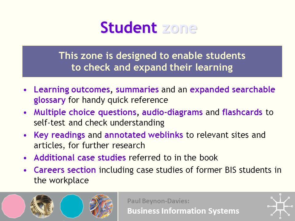 Student zone This zone is designed to enable students to check and expand their learning.