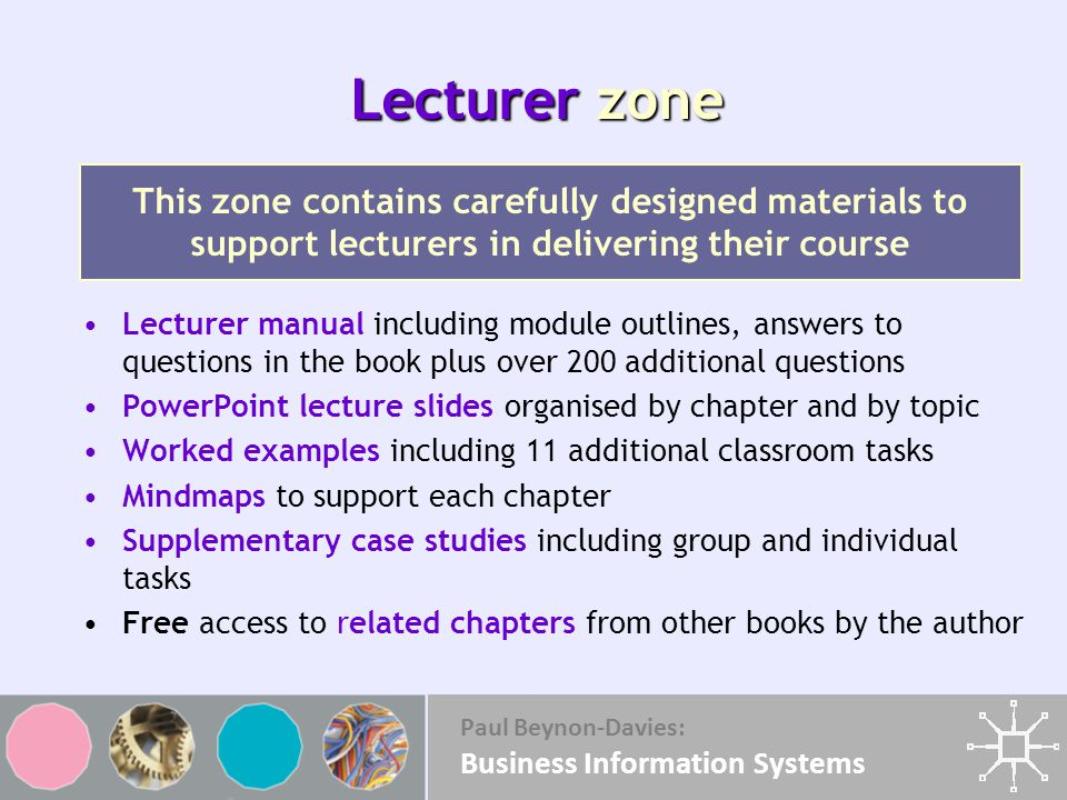 Lecturer zone This zone contains carefully designed materials to support lecturers in delivering their course.