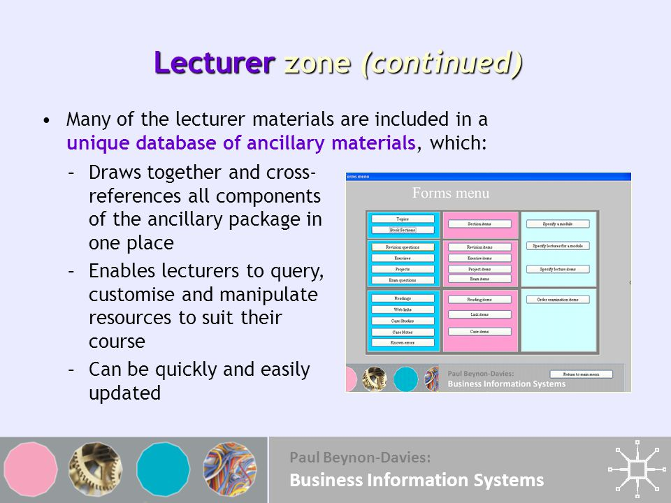 Lecturer zone (continued)