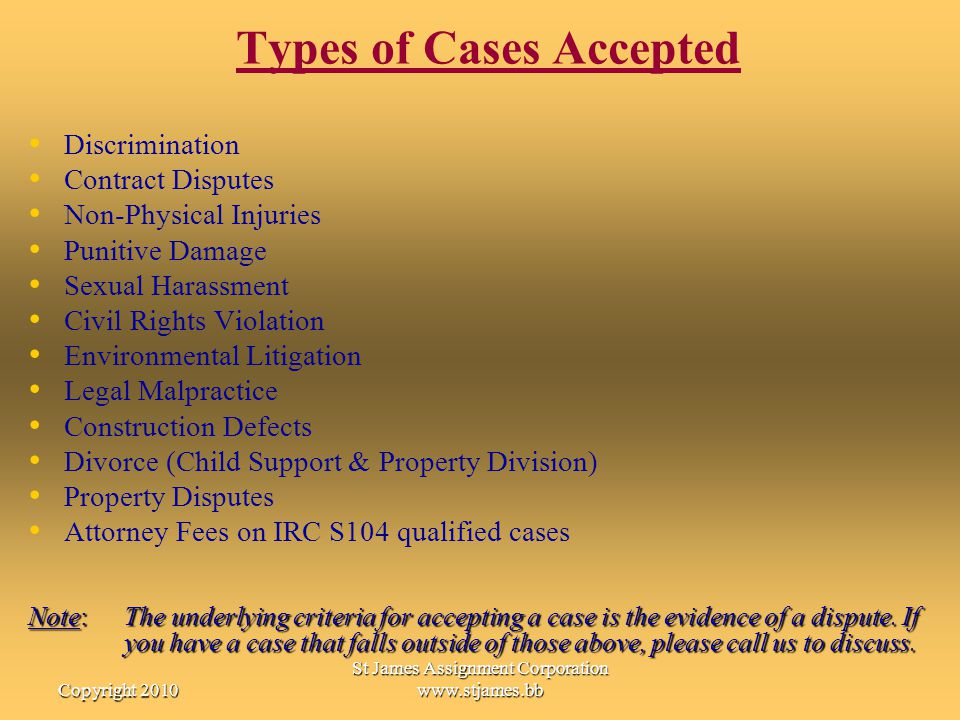 Types of Cases Accepted
