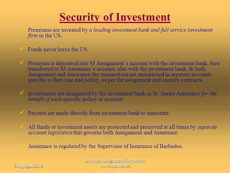 Security of Investment